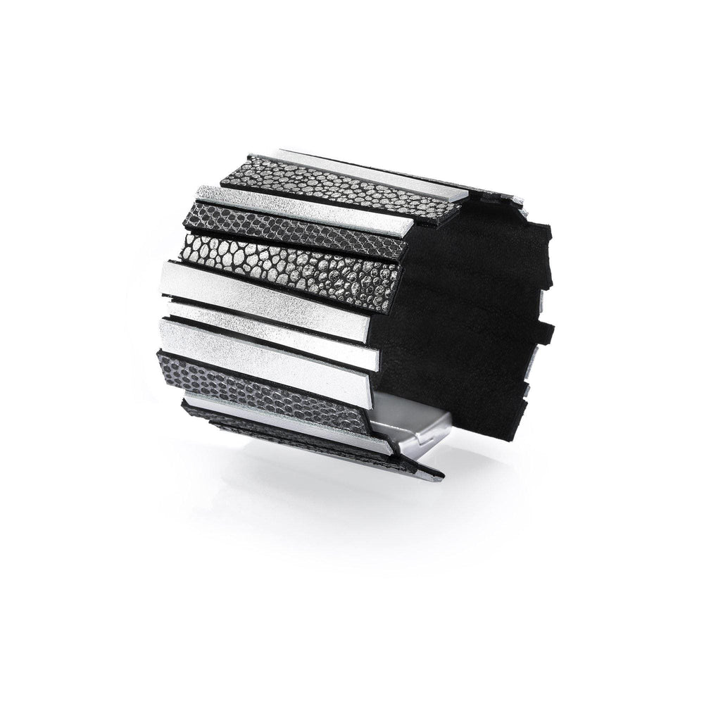 Hellena silver leather cuff bracelet - ShulliDesign