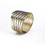 Stripes gold leather statement bracelet