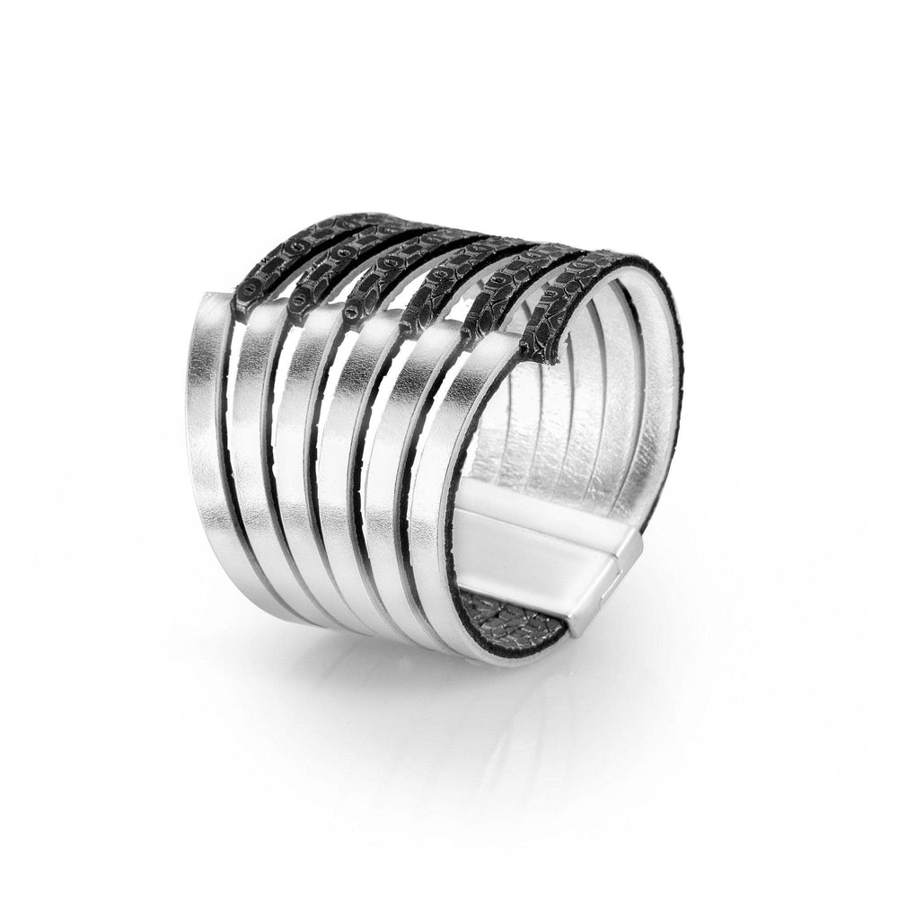 Stripes silver large cuff leather bracelet - ShulliDesign