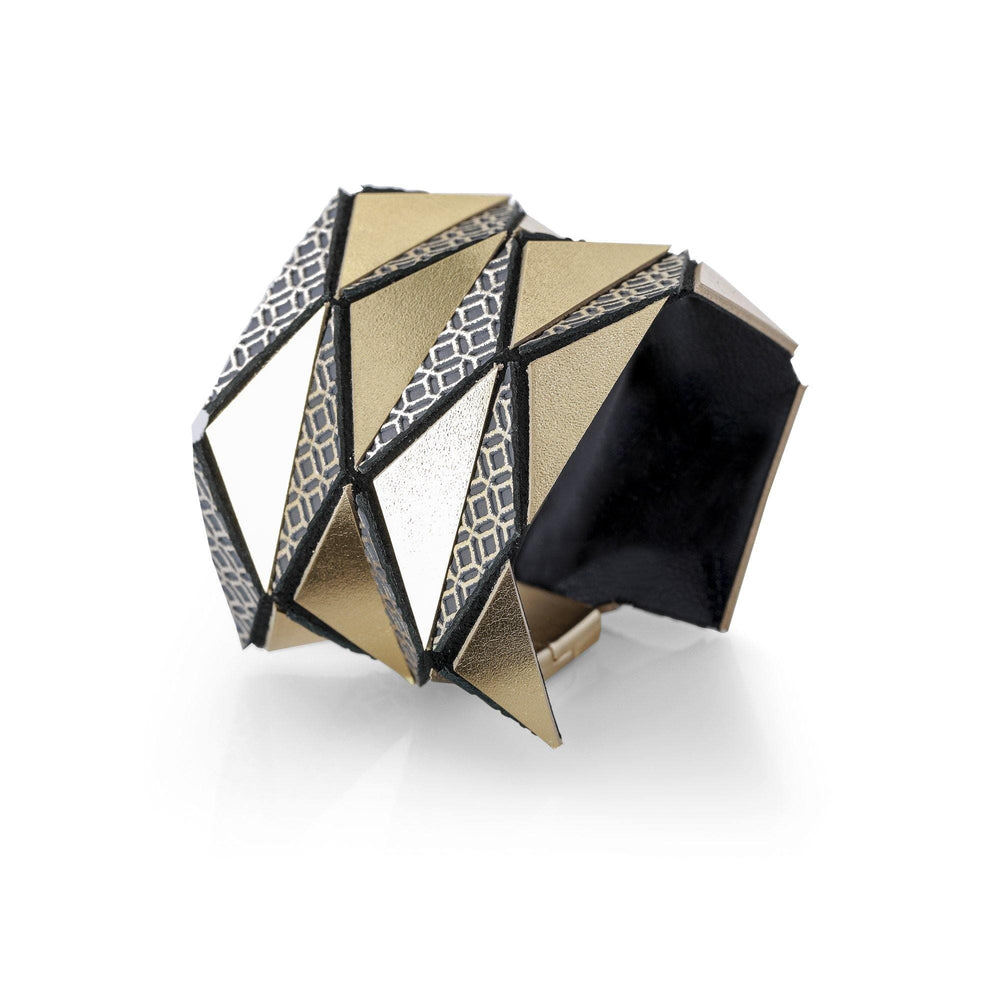 Origami gold geometric leather bracelet - ShulliDesign