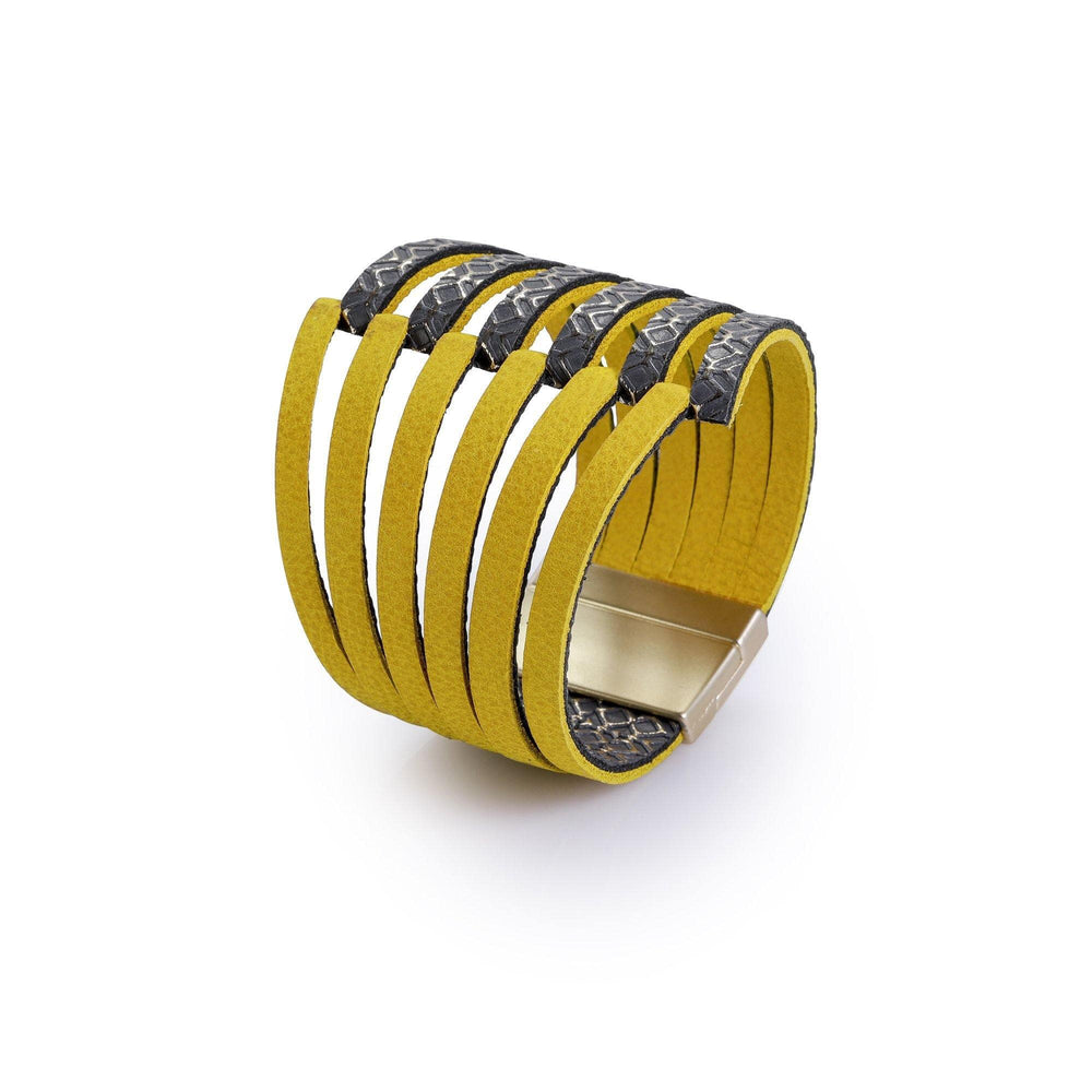 Stripes yellow leather cuff bracelet for women - ShulliDesign