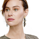 Gaia gold long leather earrings
