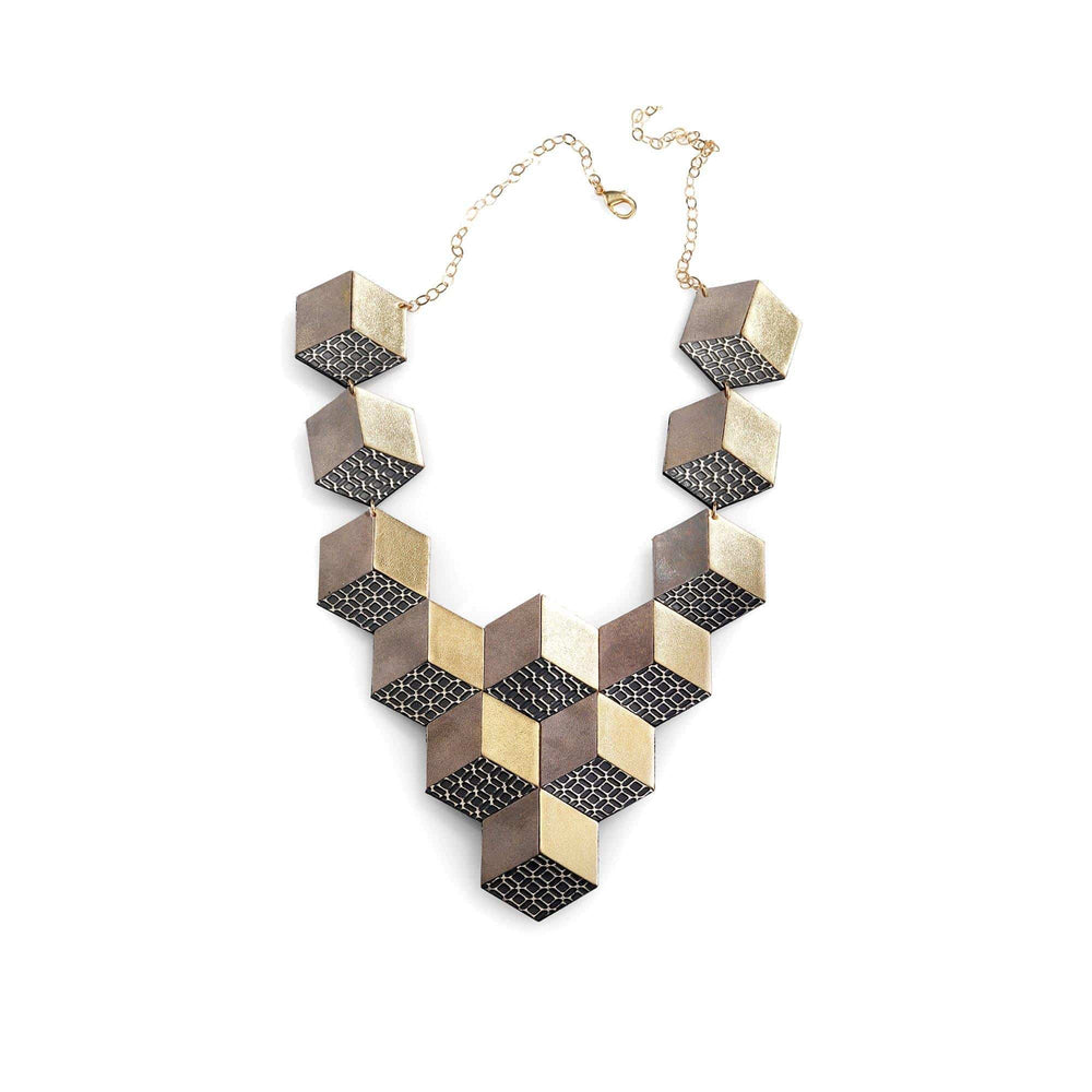 Jeanne Darc gold leather bib necklace - ShulliDesign