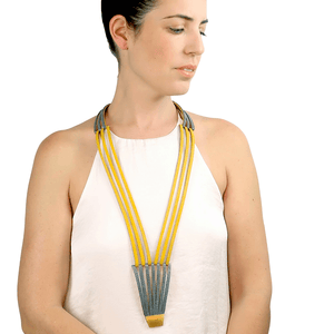 Long stripe yellow leather necklace