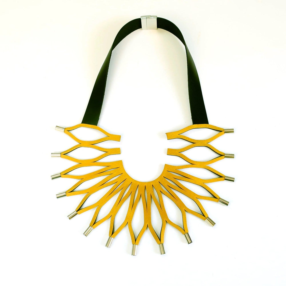 Sunflower yellow leather bib necklace