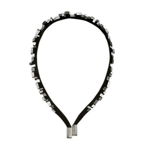 Gaia silver minimalistic leather necklace