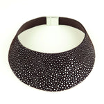 African queen black and white leather choker
