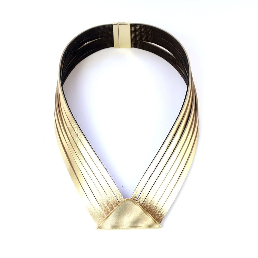 Element Gold  V collar leather necklace