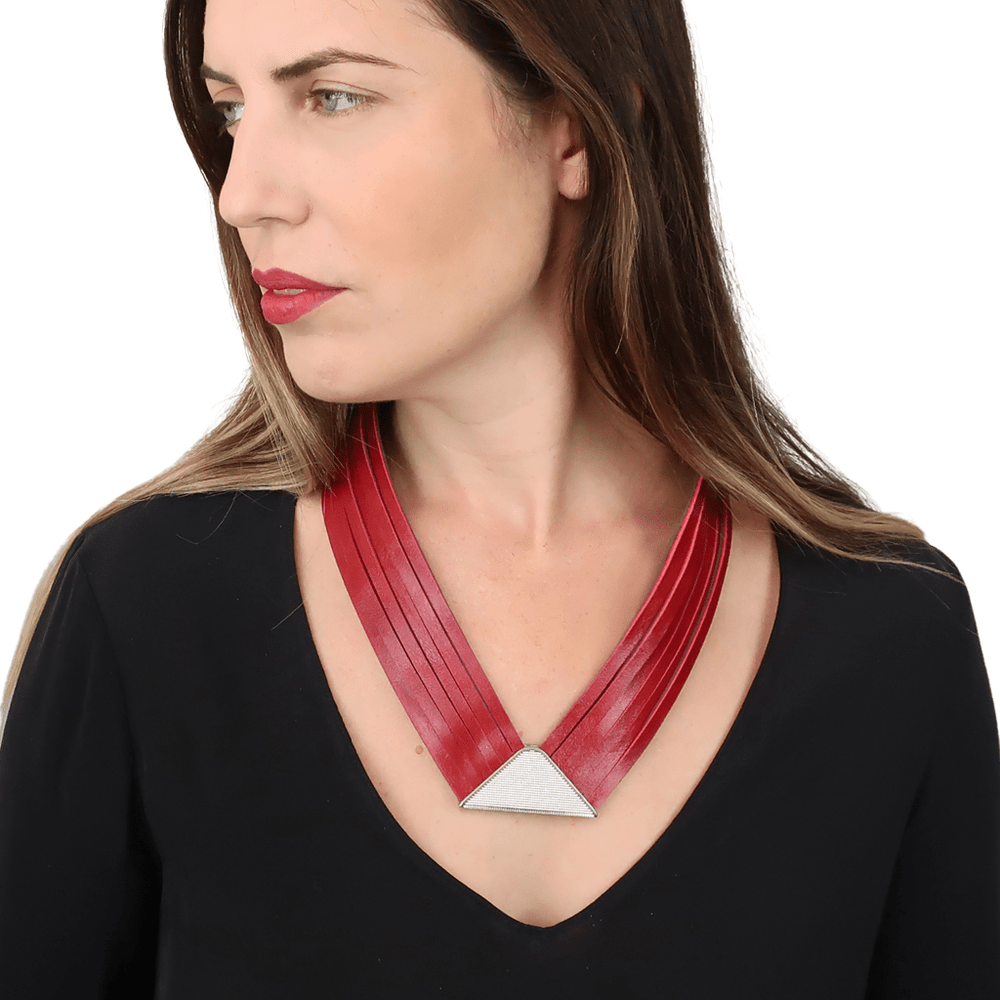 Element red multi strand leather necklace