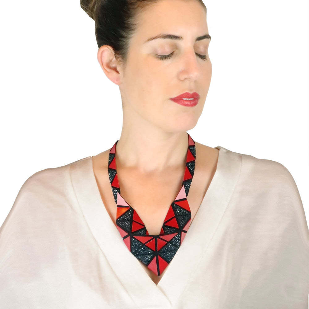 Origami red modern leather necklace