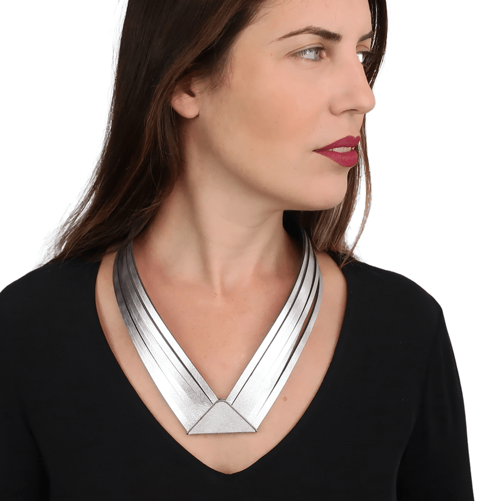 Element silver statement leather collar