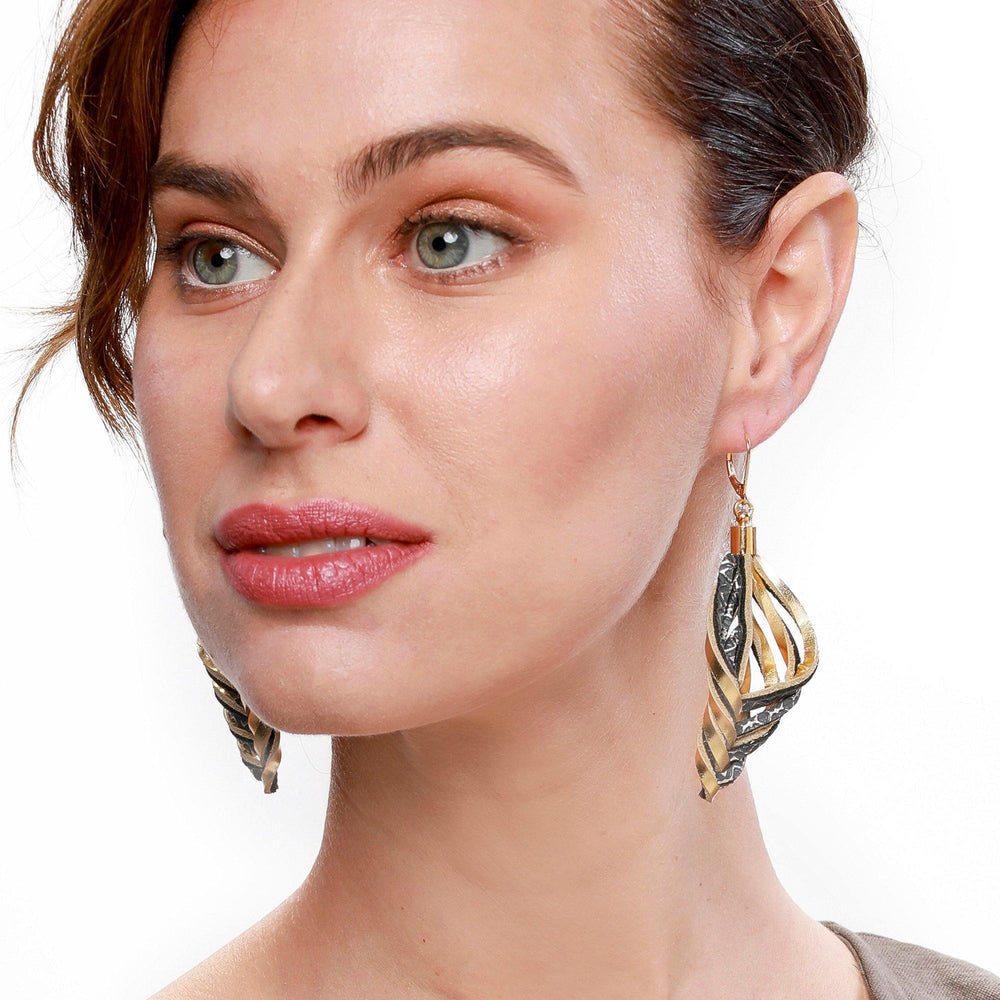 Embrace gold leather dangle earrings