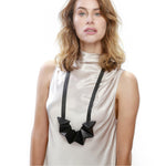 Star black long leather necklace