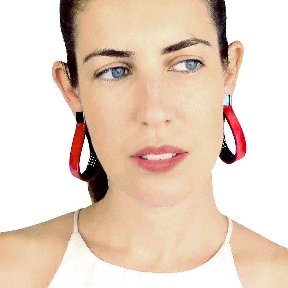 Twisted hoop red leather earrings - ShulliDesign