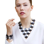 Jeanne Darc silver leather necklace and bracelet set