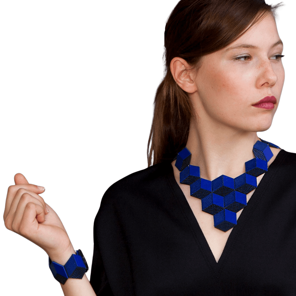 Load image into Gallery viewer, Jeanne Darc blue 3D leather necklace - ShulliDesign