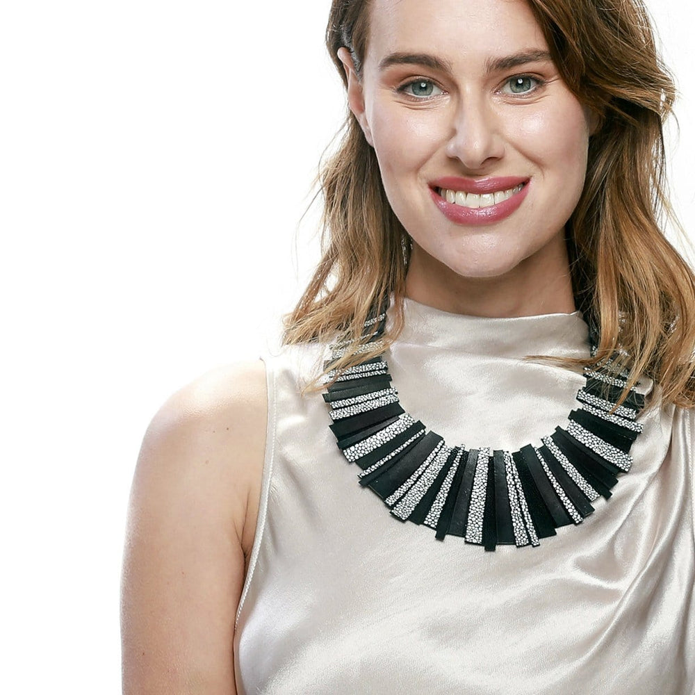 Helena Gold statement leather necklace