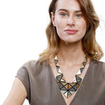 Origami gold statement leather necklace