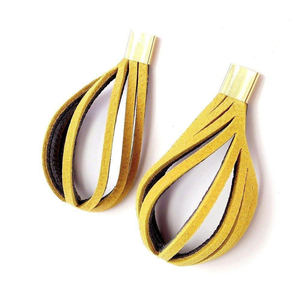 Stripes yellow leather statement earrings - ShulliDesign