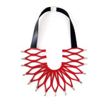 Sunflower Red leather bib necklace