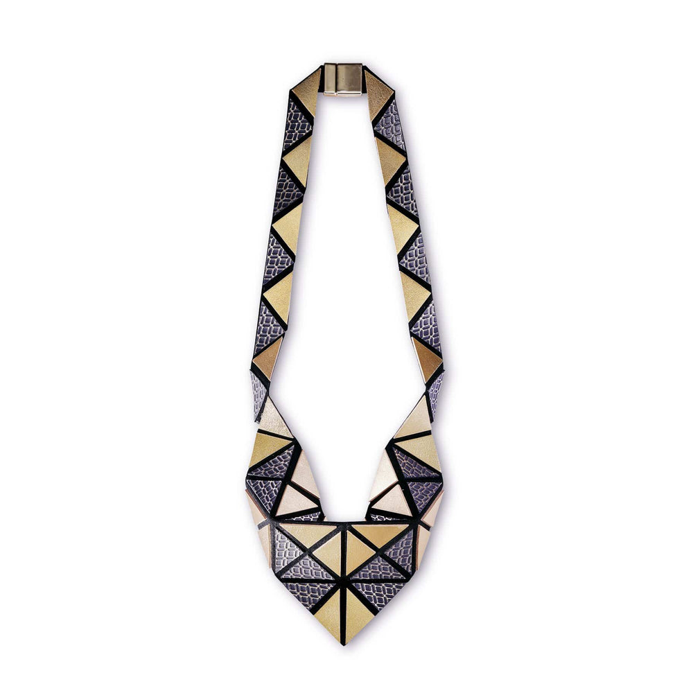 Origami silver geometric leather necklace