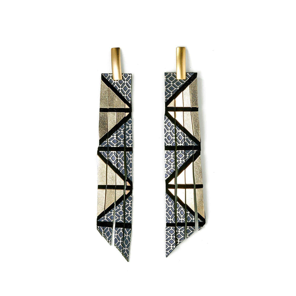 Geo gold long geometric leather earrings - ShulliDesign