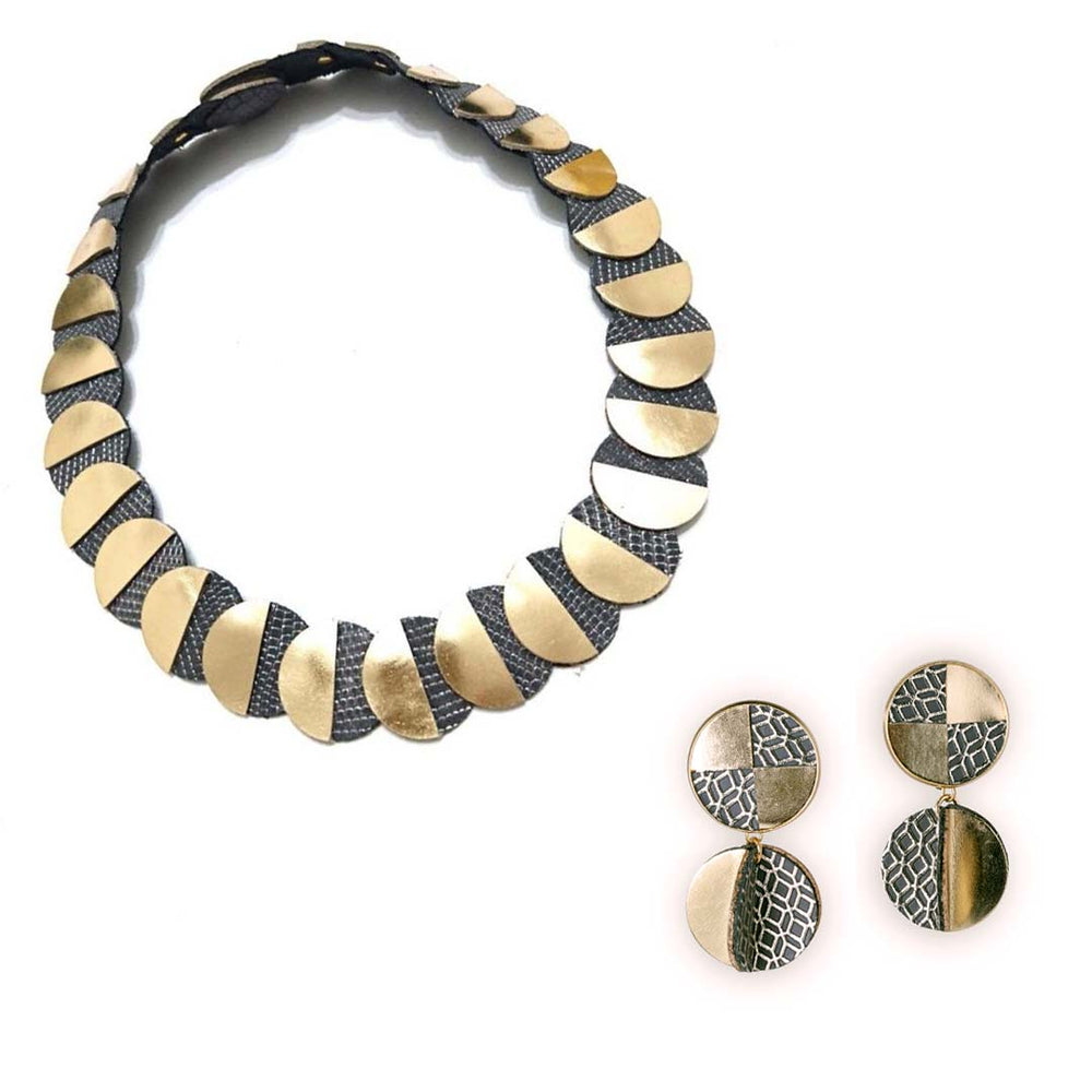Eclipse silver leather necklace and clip-on earring set