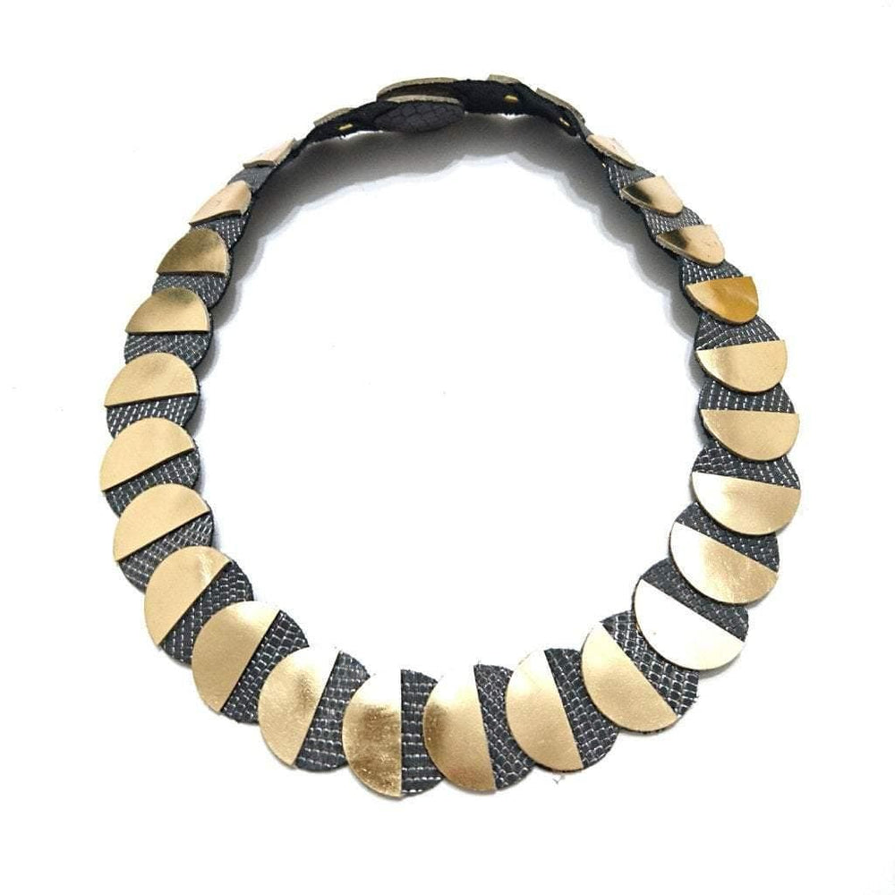 Eclipse gold collar leather necklace