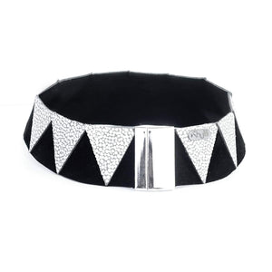 Load image into Gallery viewer, Nefertiti silver and black leather choker
