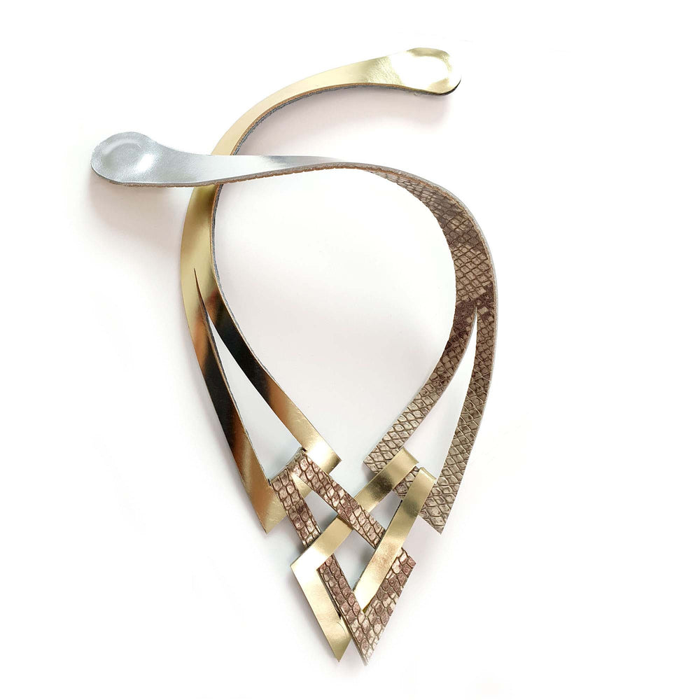 Knot double sided silver and gold leather necklace