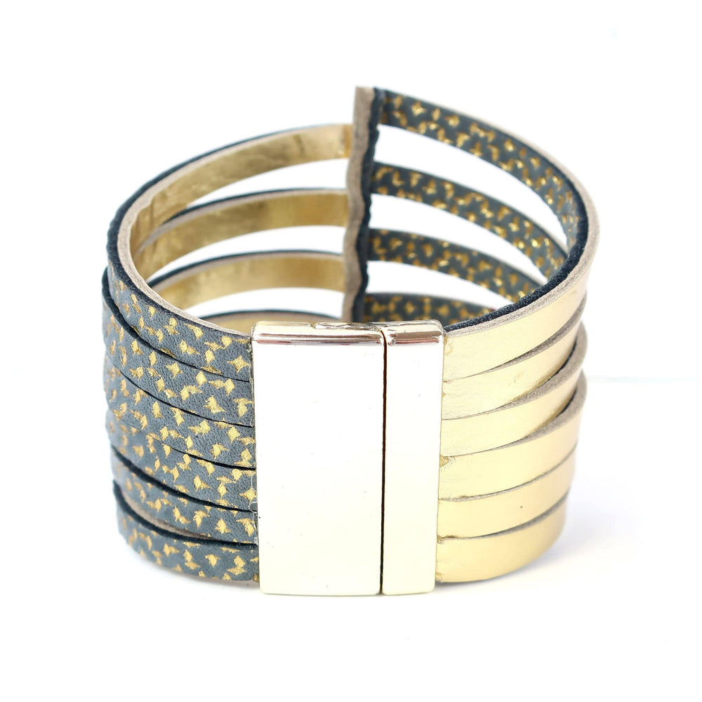 Load image into Gallery viewer, Stripes black and white leather bracelet - ShulliDesign