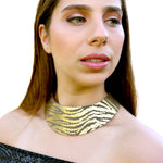 African queen gold zebra print wide leather choker