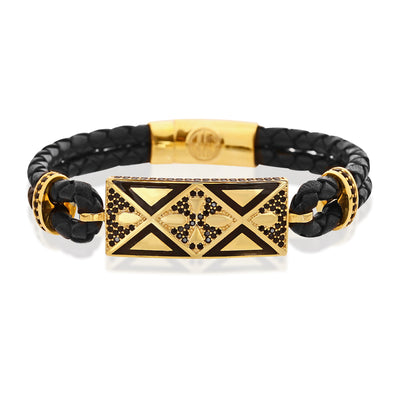Octagon Compassion Leather Bracelet