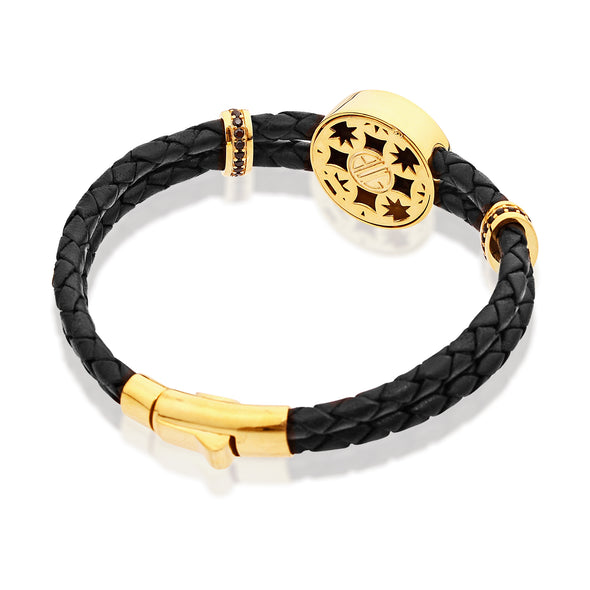 Octagon Loyalty Leather Bracelet