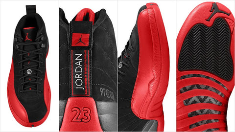 "AIR JORDAN 12 (BLACK/ RED ""FLU GAME"")"