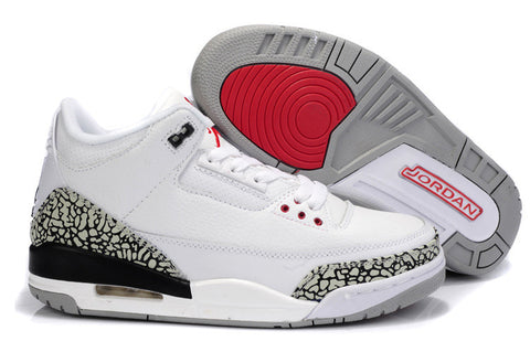 AIR JORDAN 3 ( WHITE / FIRE RED - CEMENT GREY-BLACK RETRO)