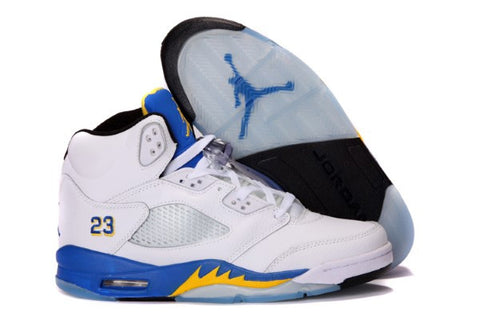 AIR JORDAN 5 (WHITE / VARSITY MAIZE VARSITY ROYAL - LANEYs)