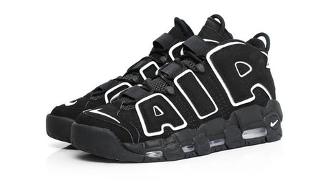 nike uptempo black and white