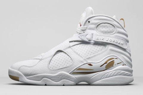 This New Unique Jordan VIII features a White, Metallic Gold, Varsity Red  and Blur color scheme. Predominantly white leather makeup with decorative  ...