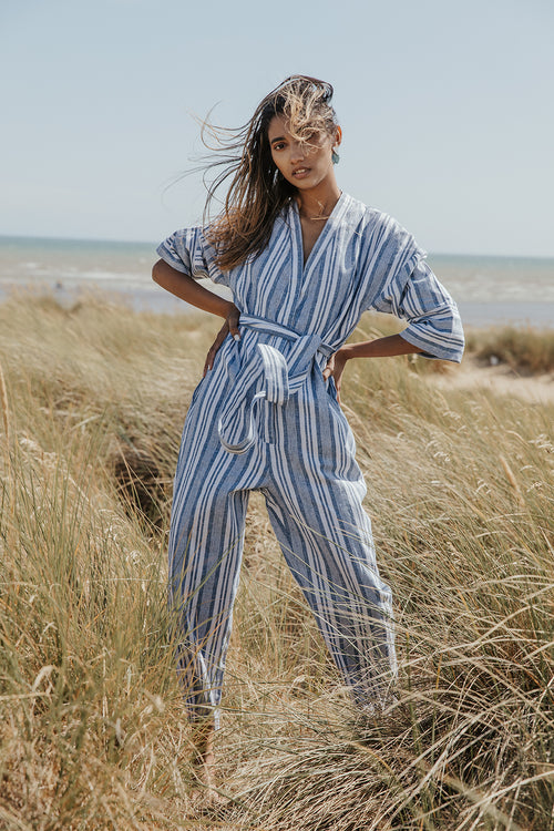 Cross Front Striped Jumpsuit With Fabric Belt