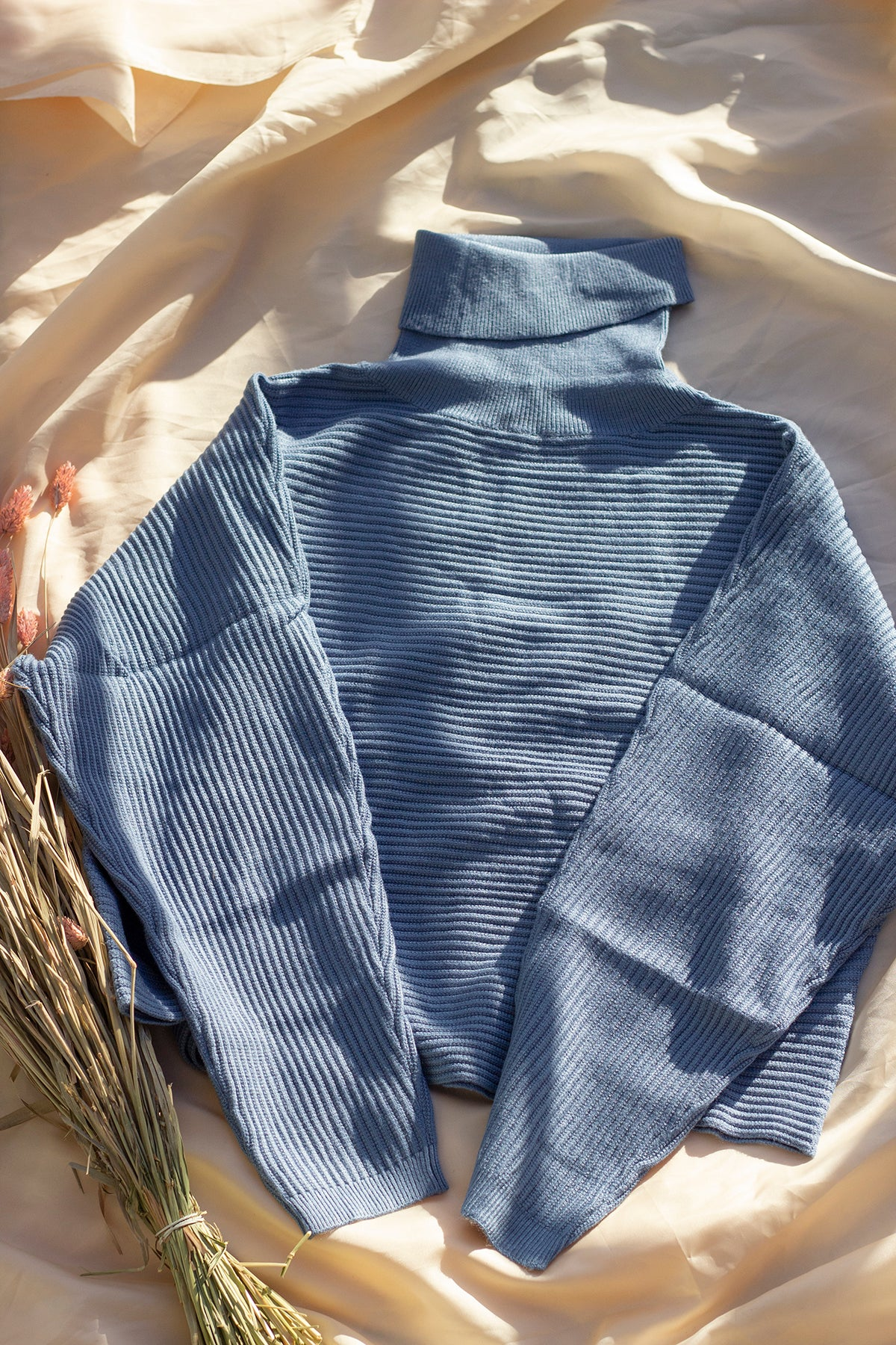 High Neck Ribbed Powder Blue Sweater - Sugar + Style