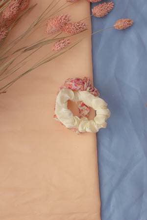 Duo Set Satin and Floral Scrunchie Hair Ties White and Pink - Sugar + Style