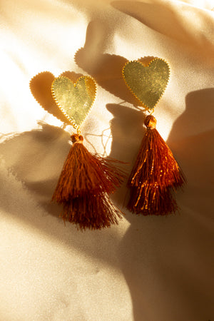 Heart Tassel Earrings - Sugar + Style