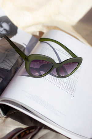 Weighted Oval Cat Eye Sunglasses - Sugar + Style
