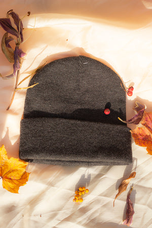 Charcoal Grey Beanie Hat - Sugar + Style