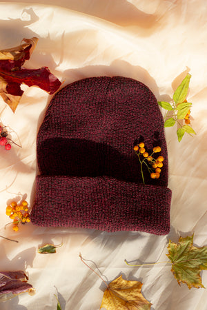 Deep Red Mottled Beanie Hat - Sugar + Style