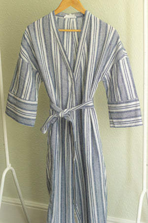 Cross Front Striped Jumpsuit With Fabric Belt - Sugar + Style