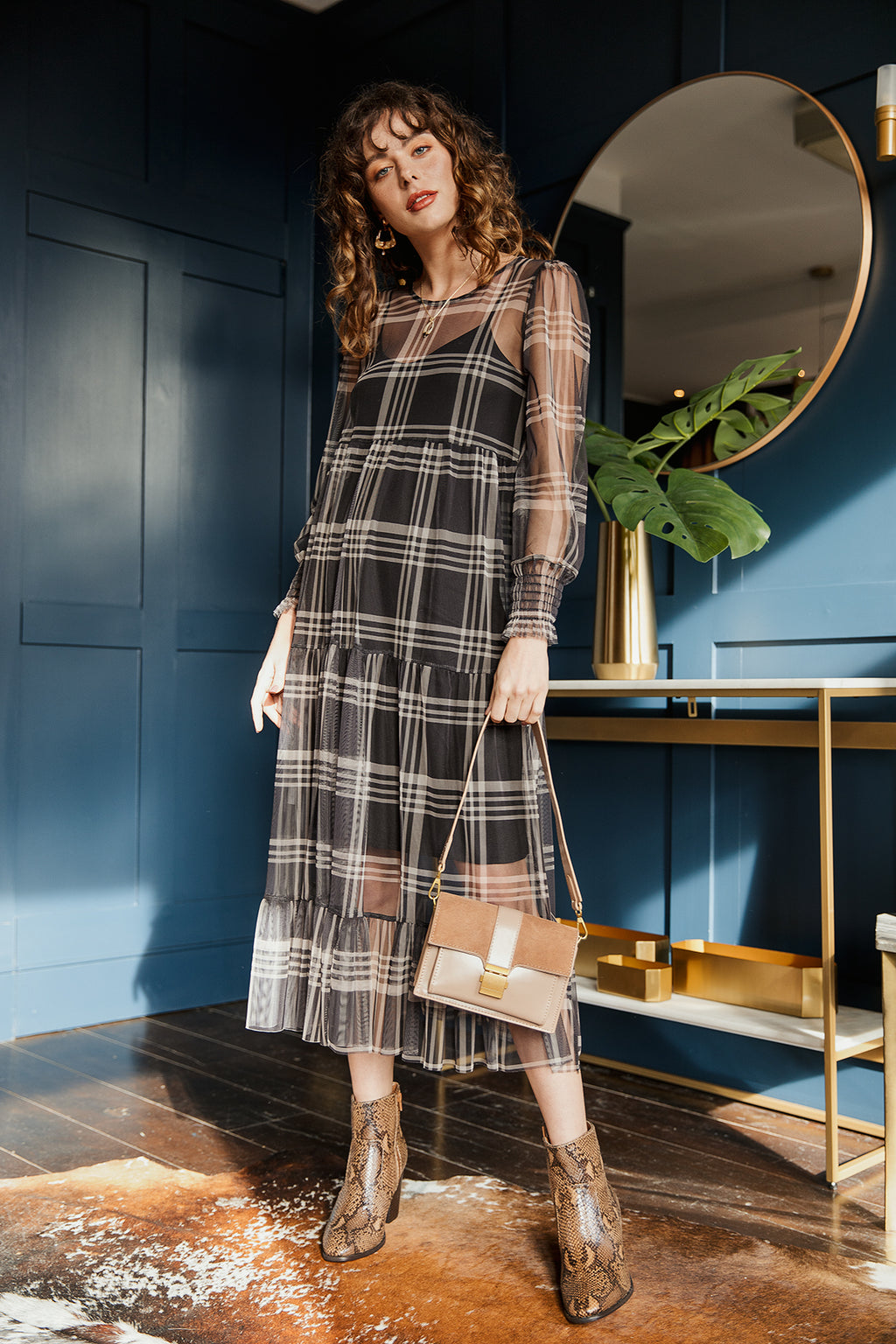 Sheer Gingham Maxi Dress - Sugar + Style