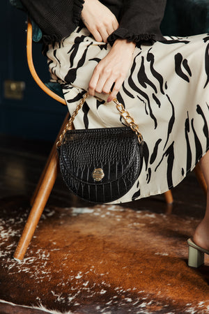 Half Moon Croc Effect Bag - Sugar + Style
