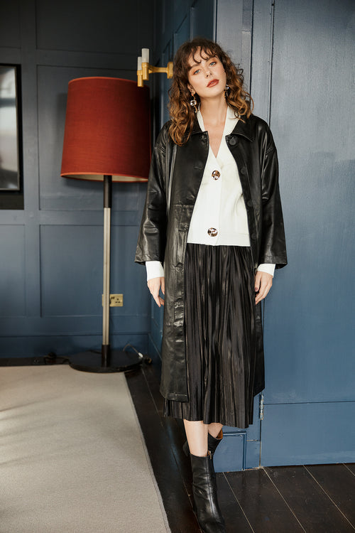 Longline Vegan Leather Trench
